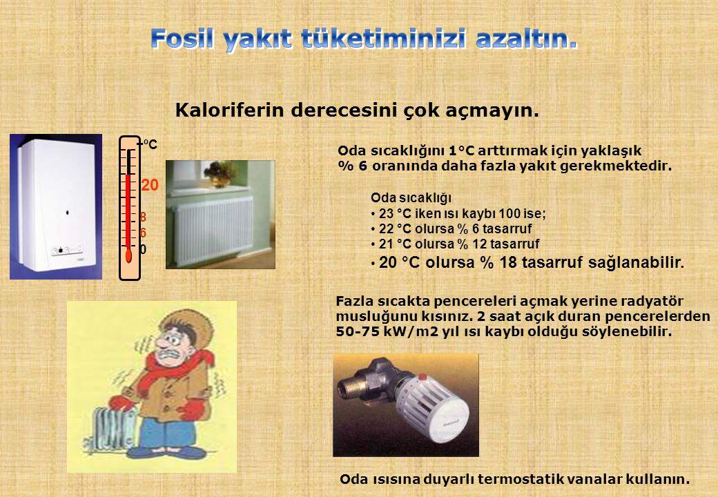 Kaloriferin derecesini çok açmayın. 0 6 8 +ºC 20 Oda sıcaklığını 1°C arttırmak için yaklaşık % 6 oranında daha fazla yakıt gerekmektedir. Oda sıcaklığ