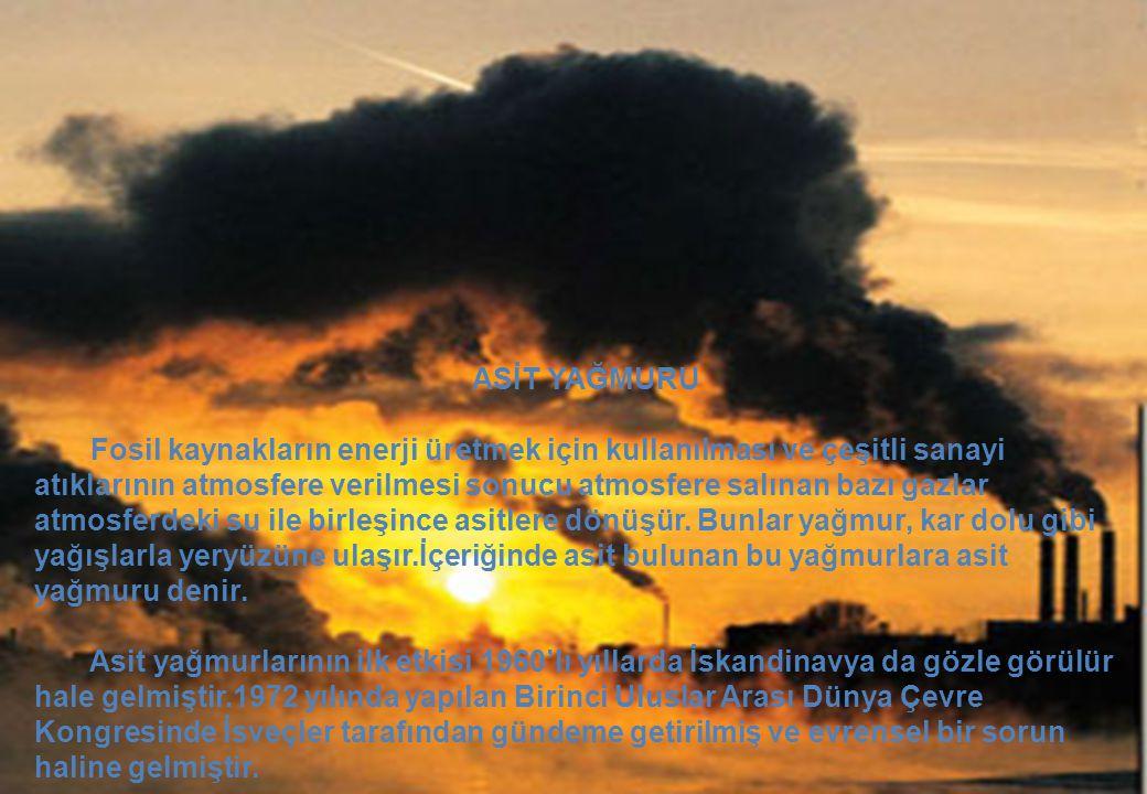 www.tema.org.tr ASİT YAĞMURU Fosil kaynakların enerji üretmek için kullanılması ve çeşitli sanayi atıklarının atmosfere verilmesi sonucu atmosfere sal