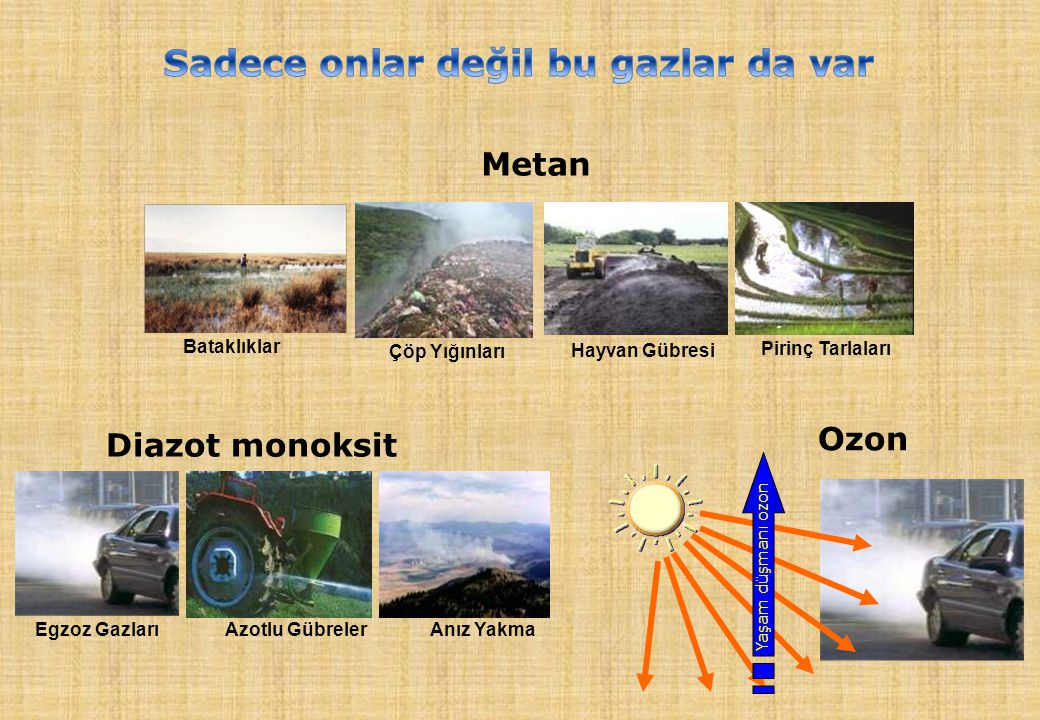 Yaşam düşmanı ozon Ozon Diazot monoksit Egzoz Gazları Azotlu Gübreler Anız Yakma Metan Çöp Yığınları Hayvan Gübresi Pirinç Tarlaları Bataklıklar