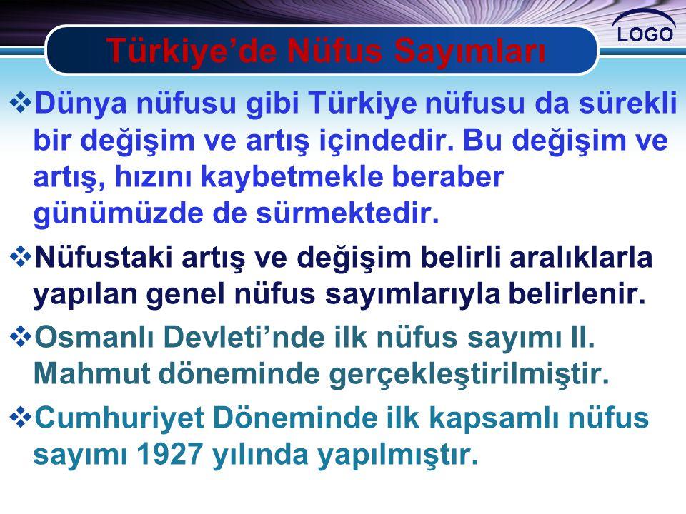 LOGO Türkiye'de Nüfus Sayımları  Dünya nüfusu gibi Türkiye nüfusu da sürekli bir değişim ve artış içindedir. Bu değişim ve artış, hızını kaybetmekle