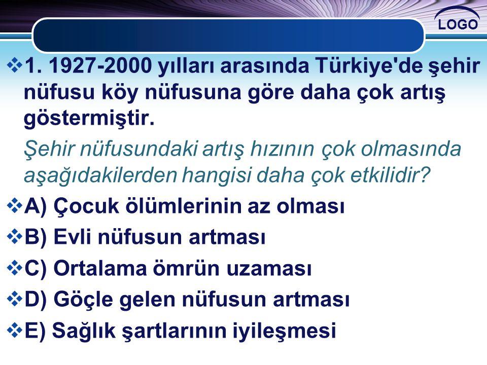 LOGO  1. 1927-2000 yılları arasında Türkiye'de şehir nüfusu köy nüfusuna göre daha çok artış göstermiştir. Şehir nüfusundaki artış hızının çok olması