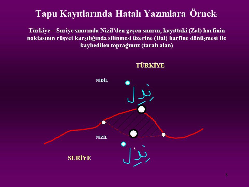 8 Tapu Kayıtlarında Hatalı Yazımlara Örnek : Türkiye – Suriye sınırında Nizil'den geçen sınırın, kayıttaki (Zal) harfinin noktasının rüşvet karşılığın