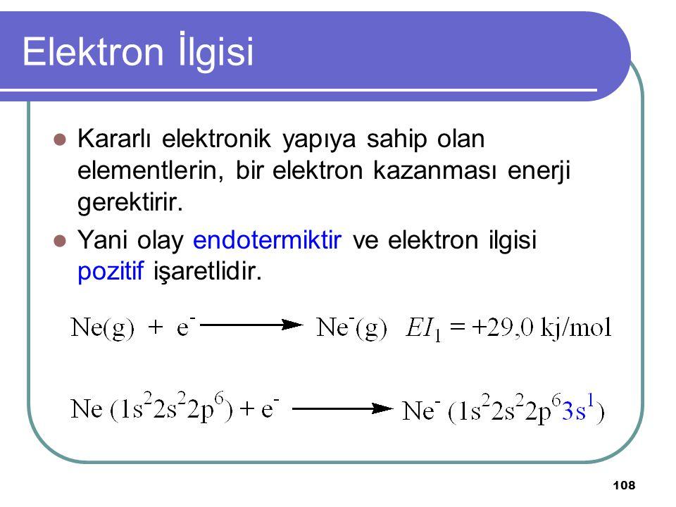 108 Elektron İlgisi Kararlı elektronik yapıya sahip olan elementlerin, bir elektron kazanması enerji gerektirir. Yani olay endotermiktir ve elektron i