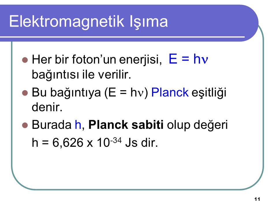 11 Elektromagnetik Işıma Her bir foton'un enerjisi, E = h bağıntısı ile verilir. Bu bağıntıya (E = h ) Planck eşitliği denir. Burada h, Planck sabiti