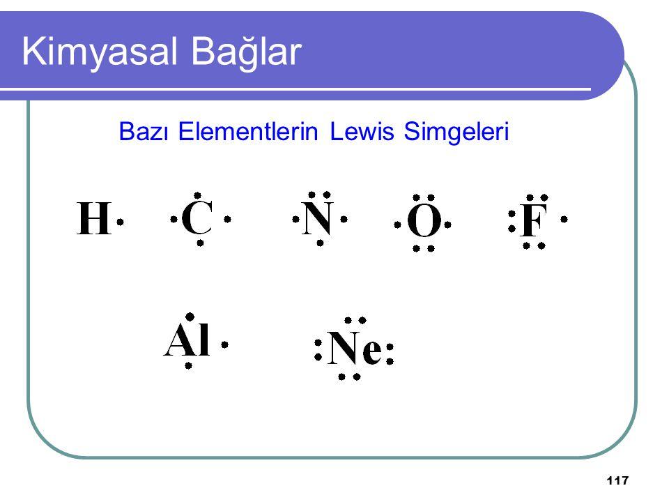 117 Kimyasal Bağlar Bazı Elementlerin Lewis Simgeleri
