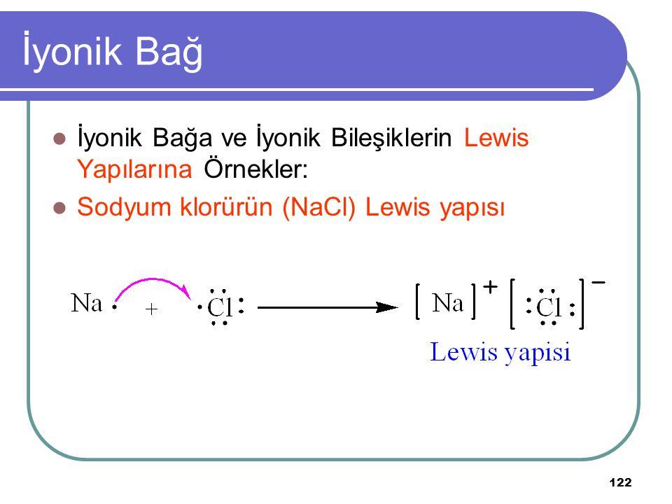 122 İyonik Bağ İyonik Bağa ve İyonik Bileşiklerin Lewis Yapılarına Örnekler: Sodyum klorürün (NaCl) Lewis yapısı