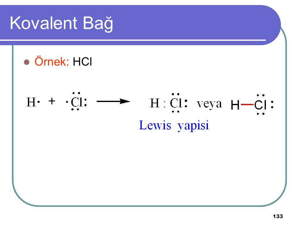 133 Kovalent Bağ Örnek: HCl