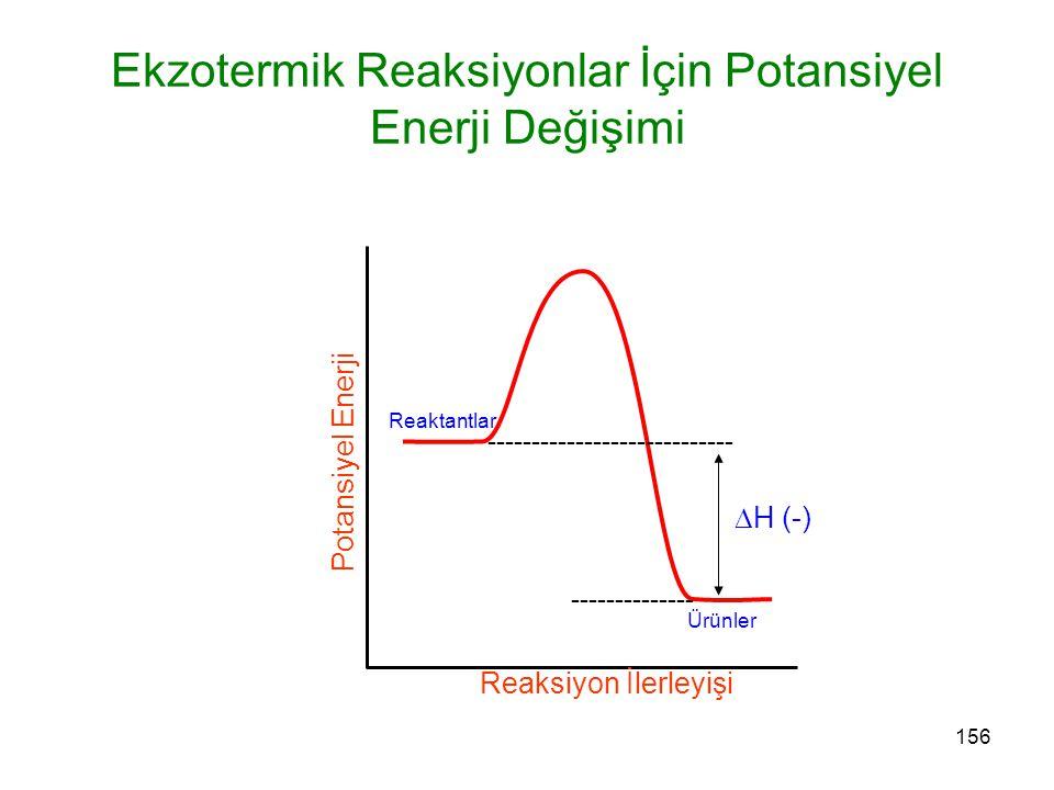156 Reaktantlar Ürünler Ekzotermik Reaksiyonlar İçin Potansiyel Enerji Değişimi Reaksiyon İlerleyişi Potansiyel Enerji ---------------------------- --