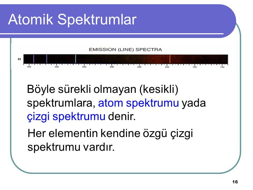 16 Atomik Spektrumlar Böyle sürekli olmayan (kesikli) spektrumlara, atom spektrumu yada çizgi spektrumu denir. Her elementin kendine özgü çizgi spektr