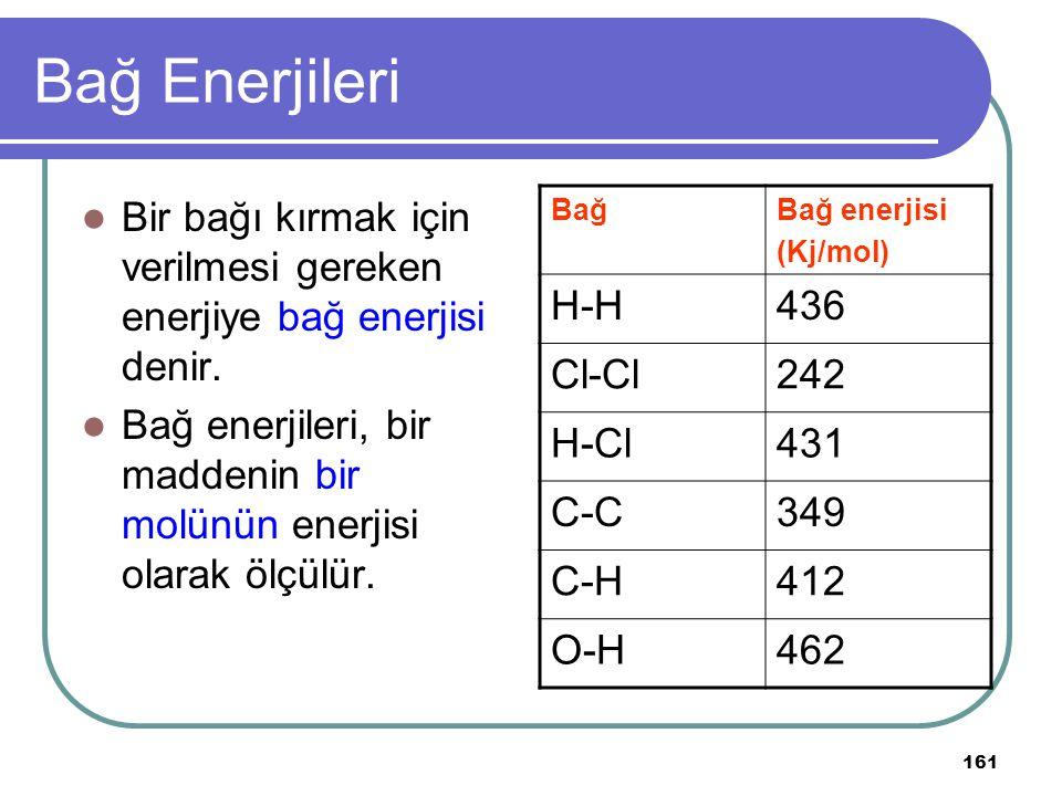 161 Bağ Enerjileri Bir bağı kırmak için verilmesi gereken enerjiye bağ enerjisi denir. Bağ enerjileri, bir maddenin bir molünün enerjisi olarak ölçülü