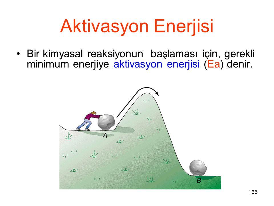165 Aktivasyon Enerjisi Bir kimyasal reaksiyonun başlaması için, gerekli minimum enerjiye aktivasyon enerjisi (Ea) denir.