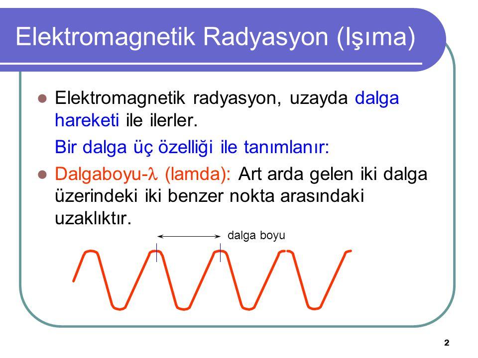 2 Elektromagnetik Radyasyon (Işıma) Elektromagnetik radyasyon, uzayda dalga hareketi ile ilerler. Bir dalga üç özelliği ile tanımlanır: Dalgaboyu- (l