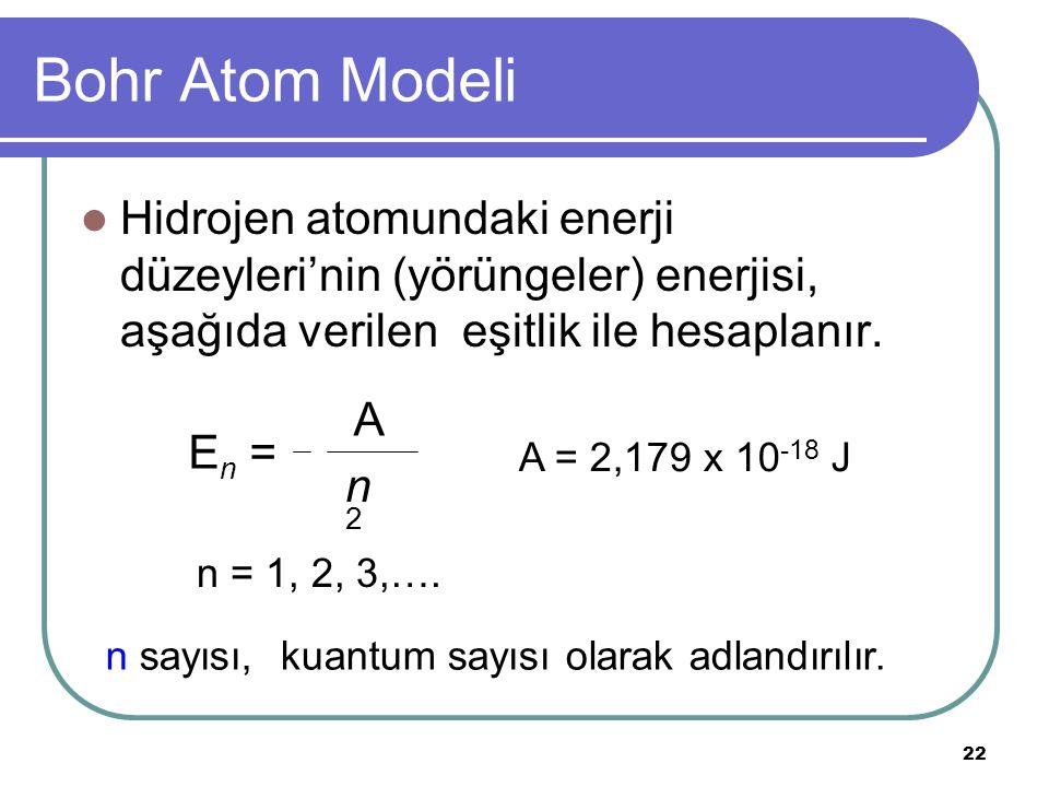 22 Bohr Atom Modeli Hidrojen atomundaki enerji düzeyleri'nin (yörüngeler) enerjisi, aşağıda verilen eşitlik ile hesaplanır. E n = A n2n2 A = 2,179 x 1