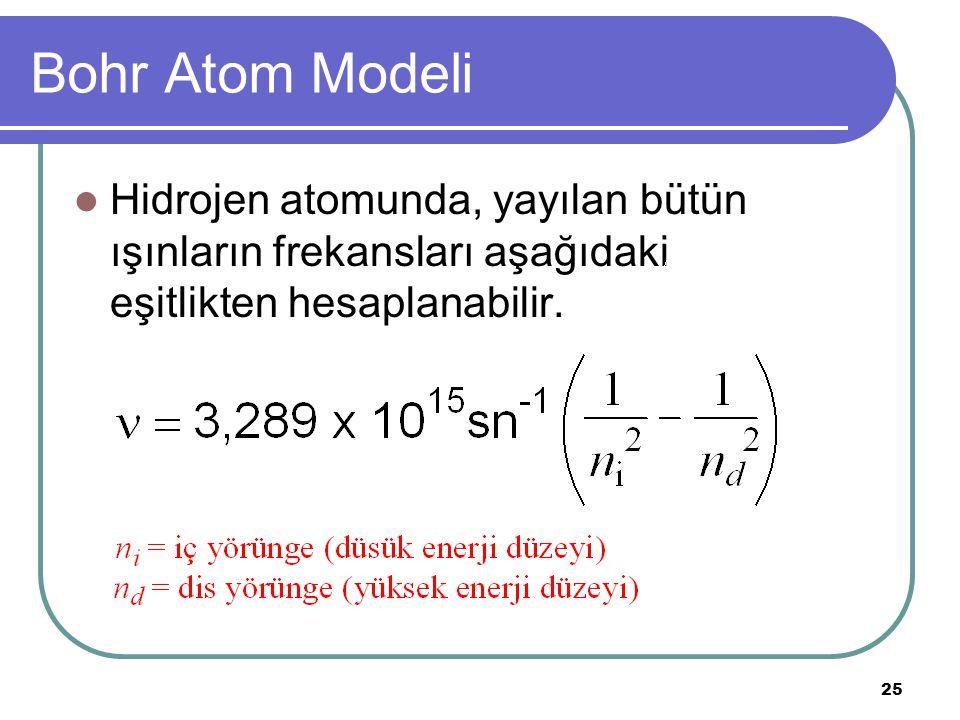 25 Bohr Atom Modeli Hidrojen atomunda, yayılan bütün ışınların frekansları aşağıdaki eşitlikten hesaplanabilir.