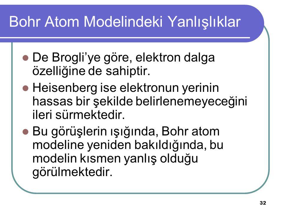 32 Bohr Atom Modelindeki Yanlışlıklar De Brogli'ye göre, elektron dalga özelliğine de sahiptir. Heisenberg ise elektronun yerinin hassas bir şekilde b