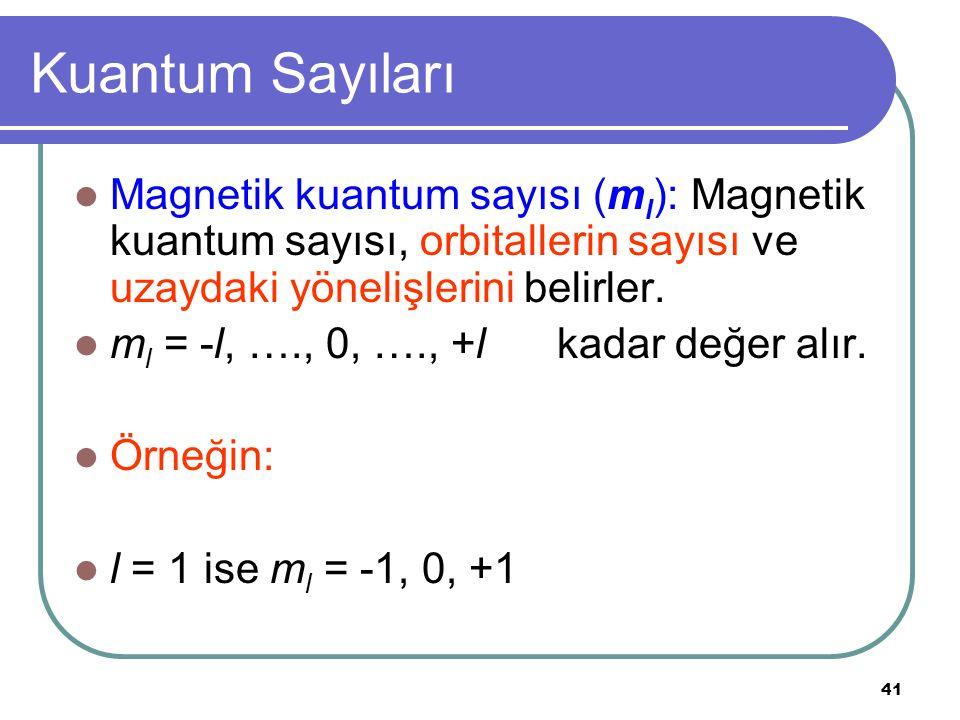 41 Kuantum Sayıları Magnetik kuantum sayısı (m l ): Magnetik kuantum sayısı, orbitallerin sayısı ve uzaydaki yönelişlerini belirler. m l = -l, …., 0,