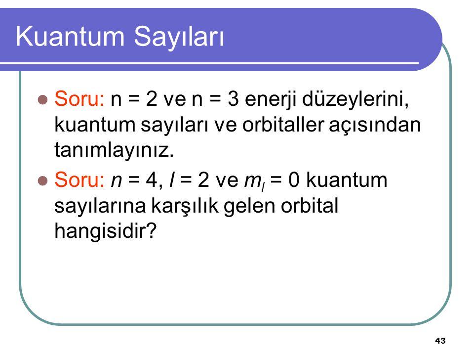 43 Kuantum Sayıları Soru: n = 2 ve n = 3 enerji düzeylerini, kuantum sayıları ve orbitaller açısından tanımlayınız. Soru: n = 4, l = 2 ve m l = 0 kuan