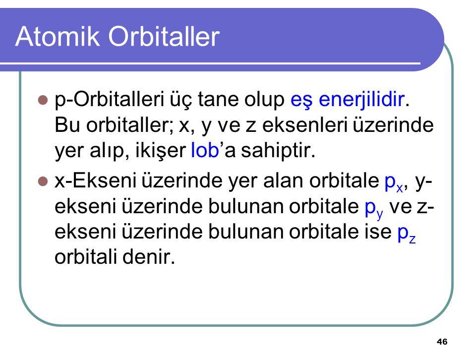 46 Atomik Orbitaller p-Orbitalleri üç tane olup eş enerjilidir. Bu orbitaller; x, y ve z eksenleri üzerinde yer alıp, ikişer lob'a sahiptir. x-Ekseni