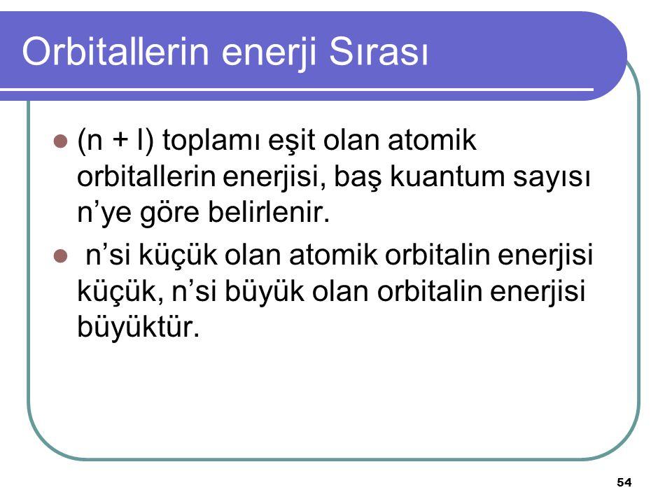54 Orbitallerin enerji Sırası (n + l) toplamı eşit olan atomik orbitallerin enerjisi, baş kuantum sayısı n'ye göre belirlenir. n'si küçük olan atomik