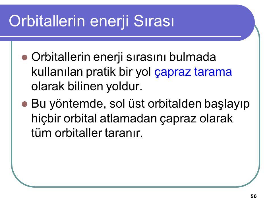 56 Orbitallerin enerji Sırası Orbitallerin enerji sırasını bulmada kullanılan pratik bir yol çapraz tarama olarak bilinen yoldur. Bu yöntemde, sol üst