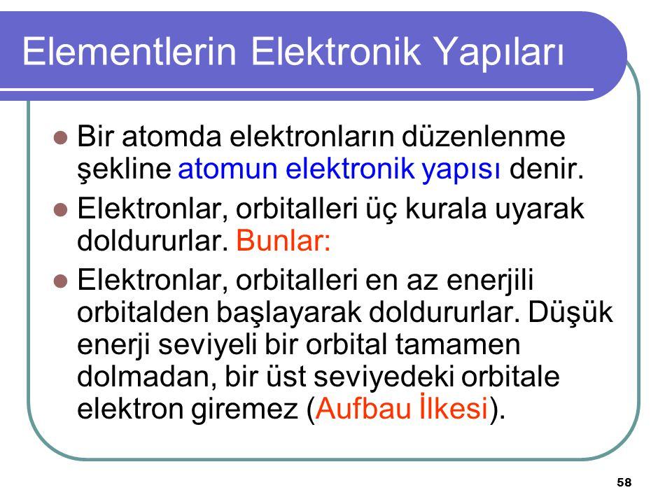 58 Elementlerin Elektronik Yapıları Bir atomda elektronların düzenlenme şekline atomun elektronik yapısı denir. Elektronlar, orbitalleri üç kurala uya