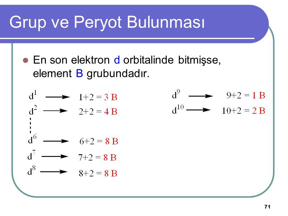 71 Grup ve Peryot Bulunması En son elektron d orbitalinde bitmişse, element B grubundadır.