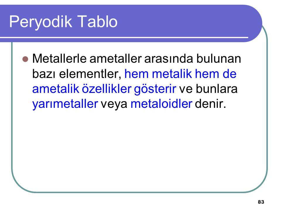 83 Peryodik Tablo Metallerle ametaller arasında bulunan bazı elementler, hem metalik hem de ametalik özellikler gösterir ve bunlara yarımetaller veya