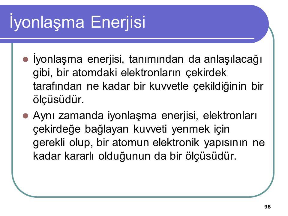98 İyonlaşma Enerjisi İyonlaşma enerjisi, tanımından da anlaşılacağı gibi, bir atomdaki elektronların çekirdek tarafından ne kadar bir kuvvetle çekild