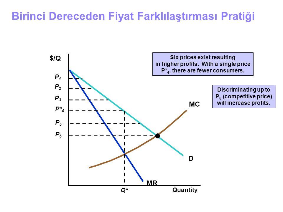 Birinci Dereceden Fiyat Farklılaştırması Pratiği Quantity D MR MC $/Q P2P2 P3P3 P1P1 P5P5 P6P6 Six prices exist resulting in higher profits. With a si