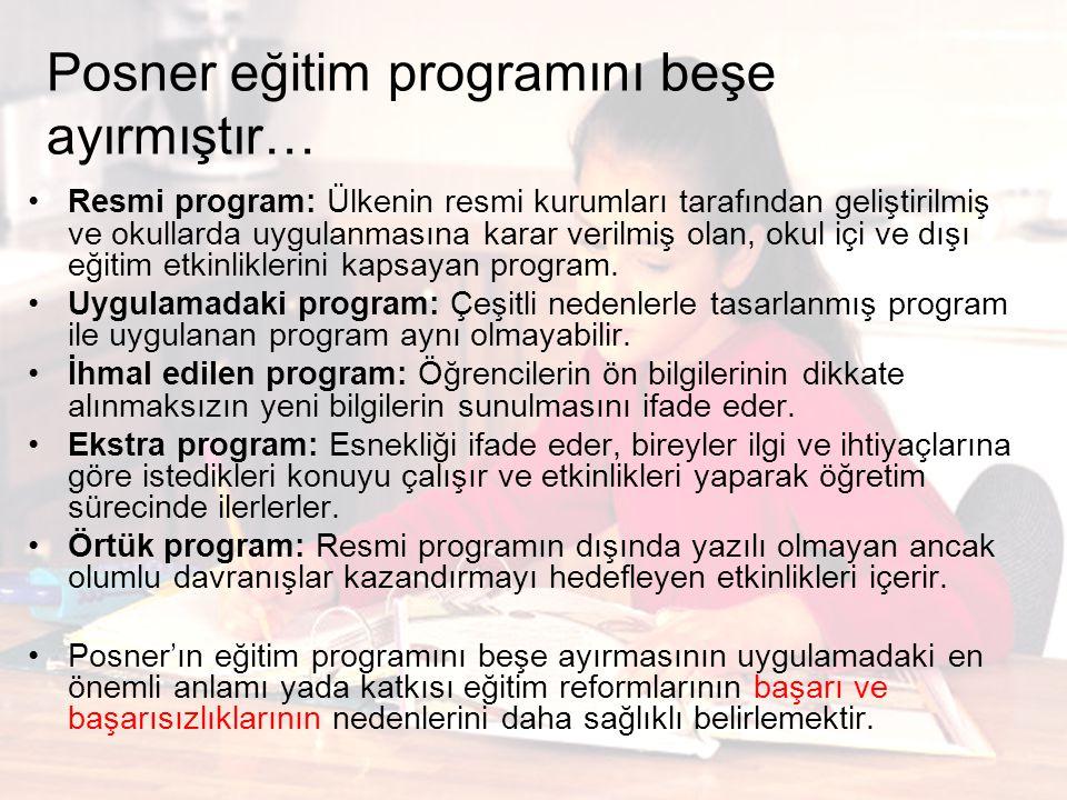 Posner eğitim programını beşe ayırmıştır… Resmi program: Ülkenin resmi kurumları tarafından geliştirilmiş ve okullarda uygulanmasına karar verilmiş ol