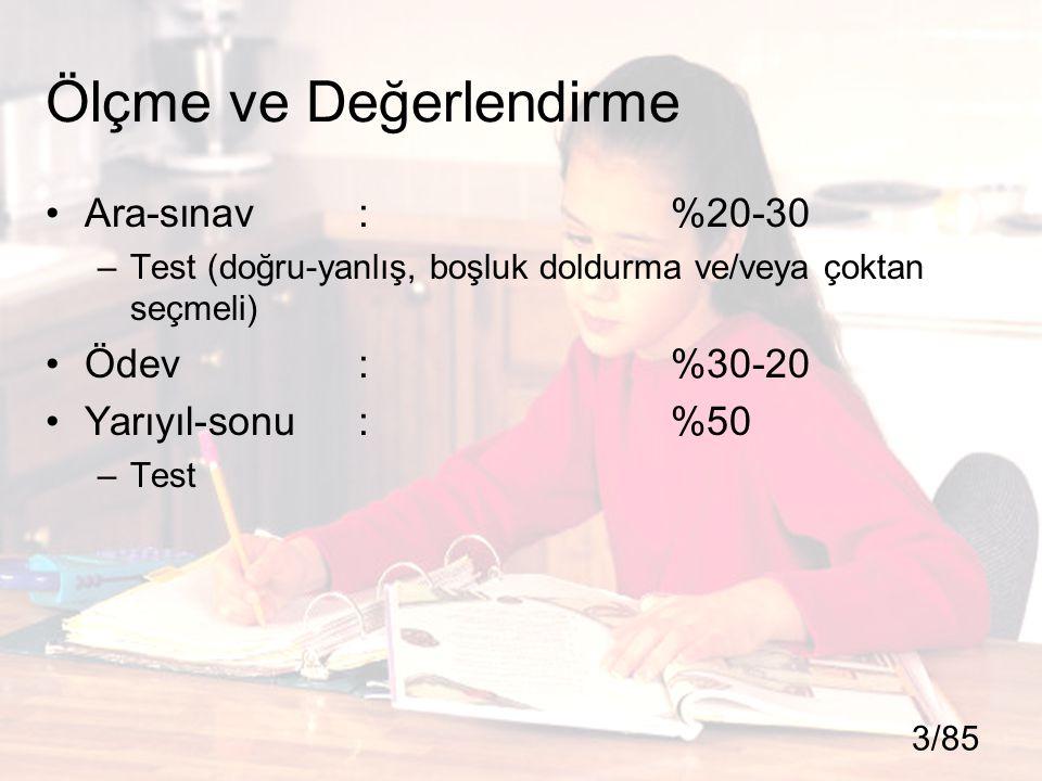 Ölçme ve Değerlendirme Ara-sınav: %20-30 –Test (doğru-yanlış, boşluk doldurma ve/veya çoktan seçmeli) Ödev:%30-20 Yarıyıl-sonu: %50 –Test 3/85