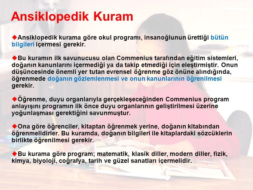 Ansiklopedik Kuram  Ansiklopedik kurama göre okul programı, insanoğlunun ürettiği bütün bilgileri içermesi gerekir.  Bu kuramın ilk savunucusu olan