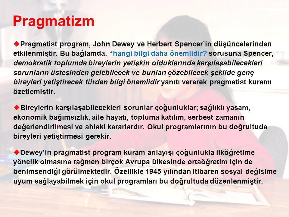 Pragmatizm  Pragmatist program, John Dewey ve Herbert Spencer'in düşüncelerinden etkilenmiştir.