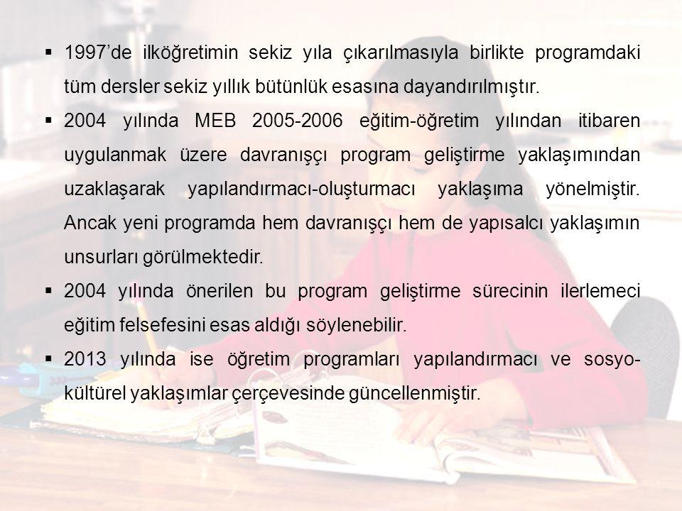  1997'de ilköğretimin sekiz yıla çıkarılmasıyla birlikte programdaki tüm dersler sekiz yıllık bütünlük esasına dayandırılmıştır.  2004 yılında MEB 2