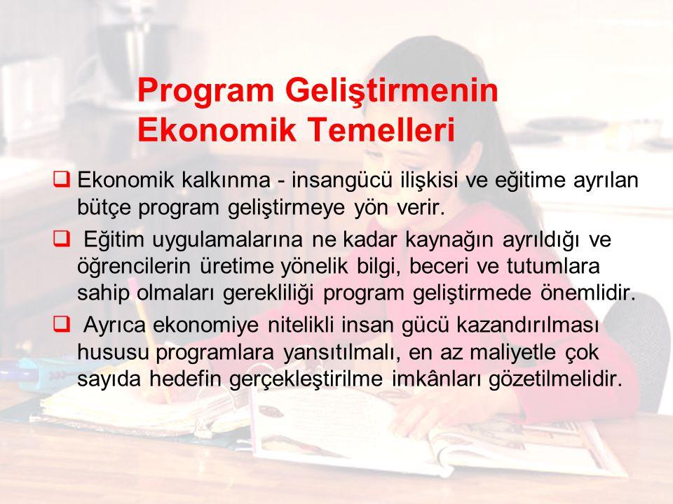 Program Geliştirmenin Ekonomik Temelleri  Ekonomik kalkınma - insangücü ilişkisi ve eğitime ayrılan bütçe program geliştirmeye yön verir.  Eğitim uy