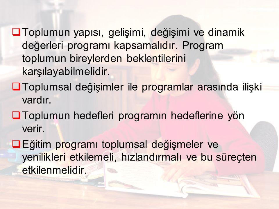  Toplumun yapısı, gelişimi, değişimi ve dinamik değerleri programı kapsamalıdır.
