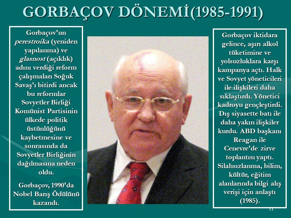 10 BREJNEV DÖNEMİ (1964-1982) Ekonomide 1970'li yıllar BrejnefvStagnasyonu gibi tarihe geçmiştir.