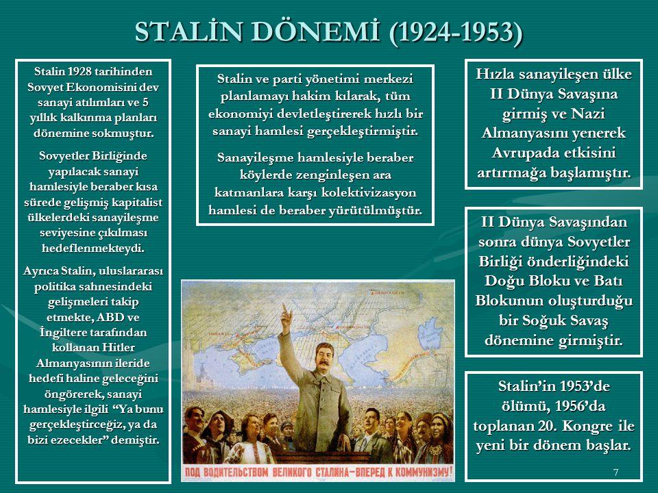 6 NEP'den ÇIKIŞ Lenin'in ölümünden 1 yıl sonra 1925 yılında Sovyetler Birliği Komünist Partisinin önde gelen liderlerinden Buharin NEP'in esas savunucusu olmuştur.
