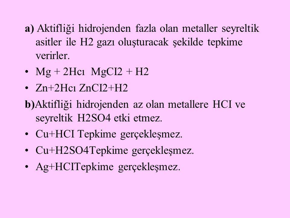 a) Aktifliği hidrojenden fazla olan metaller seyreltik asitler ile H2 gazı oluşturacak şekilde tepkime verirler. Mg + 2Hcı MgCI2 + H2 Zn+2Hcı ZnCI2+H2