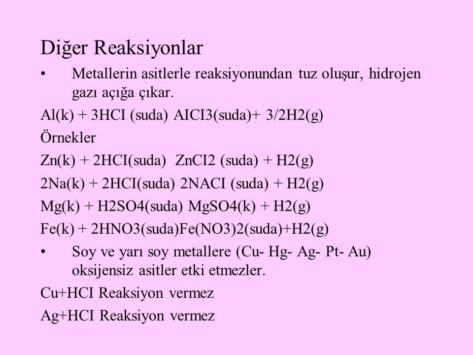 Diğer Reaksiyonlar Metallerin asitlerle reaksiyonundan tuz oluşur, hidrojen gazı açığa çıkar. Al(k) + 3HCI (suda) AICI3(suda)+ 3/2H2(g) Örnekler Zn(k)
