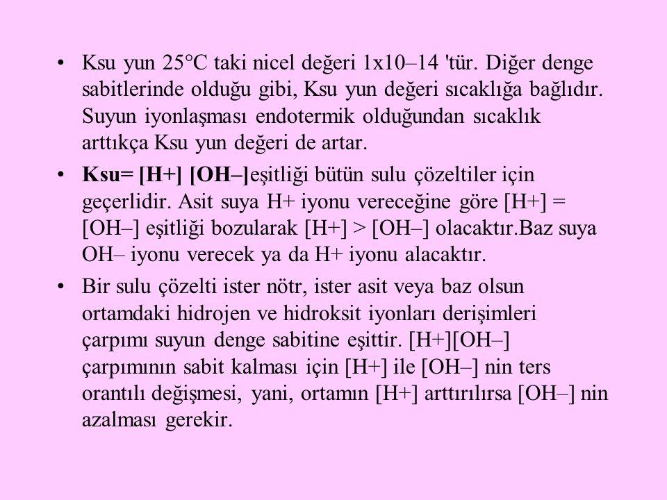 Ksu yun 25°C taki nicel değeri 1x10–14 'tür. Diğer denge sabitlerinde olduğu gibi, Ksu yun değeri sıcaklığa bağlıdır. Suyun iyonlaşması endotermik old