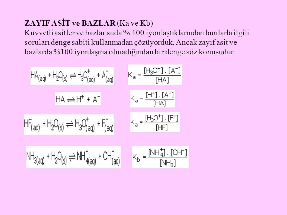 ZAYIF ASİT ve BAZLAR (Ka ve Kb) Kuvvetli asitler ve bazlar suda % 100 iyonlaştıklarından bunlarla ilgili soruları denge sabiti kullanmadan çözüyorduk.