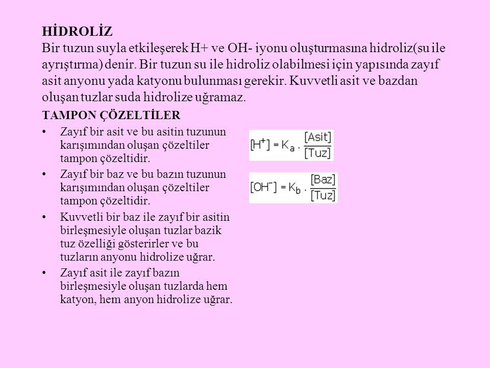 HİDROLİZ Bir tuzun suyla etkileşerek H+ ve OH- iyonu oluşturmasına hidroliz(su ile ayrıştırma) denir. Bir tuzun su ile hidroliz olabilmesi için yapısı