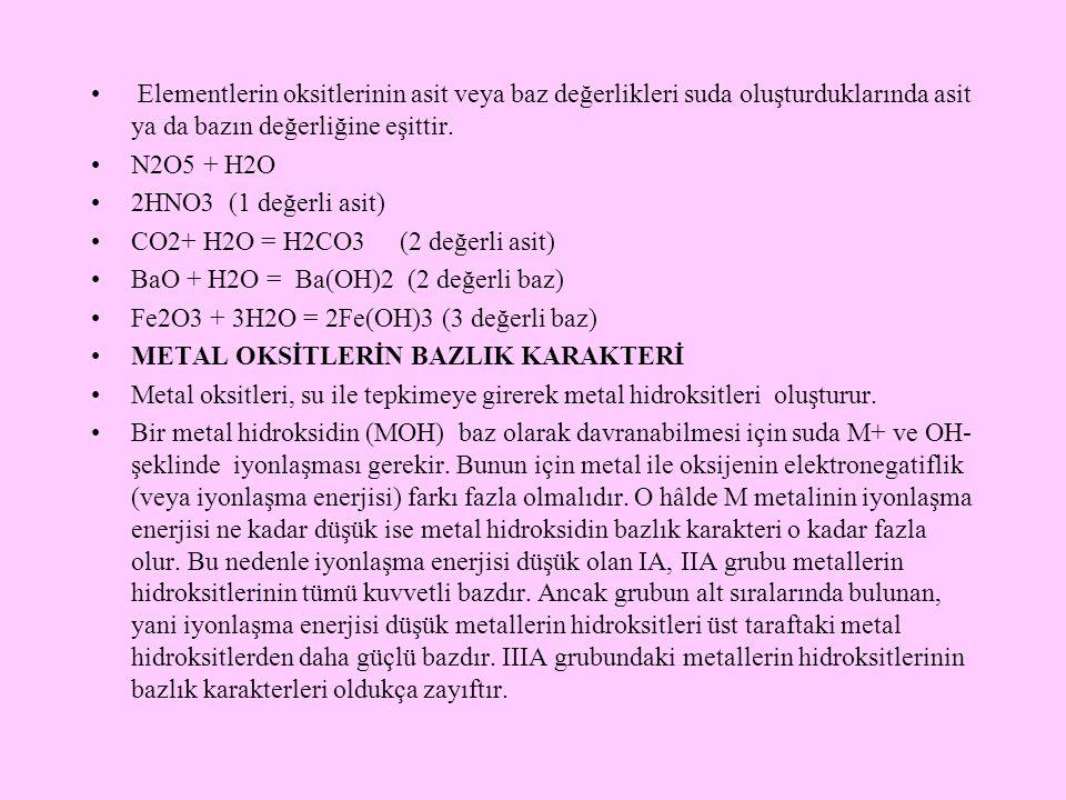 Elementlerin oksitlerinin asit veya baz değerlikleri suda oluşturduklarında asit ya da bazın değerliğine eşittir. N2O5 + H2O 2HNO3 (1 değerli asit) CO