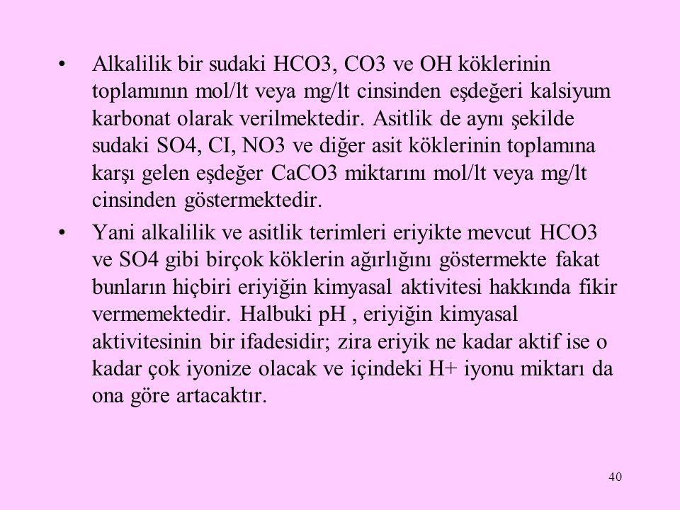 Alkalilik bir sudaki HCO3, CO3 ve OH köklerinin toplamının mol/lt veya mg/lt cinsinden eşdeğeri kalsiyum karbonat olarak verilmektedir. Asitlik de ayn