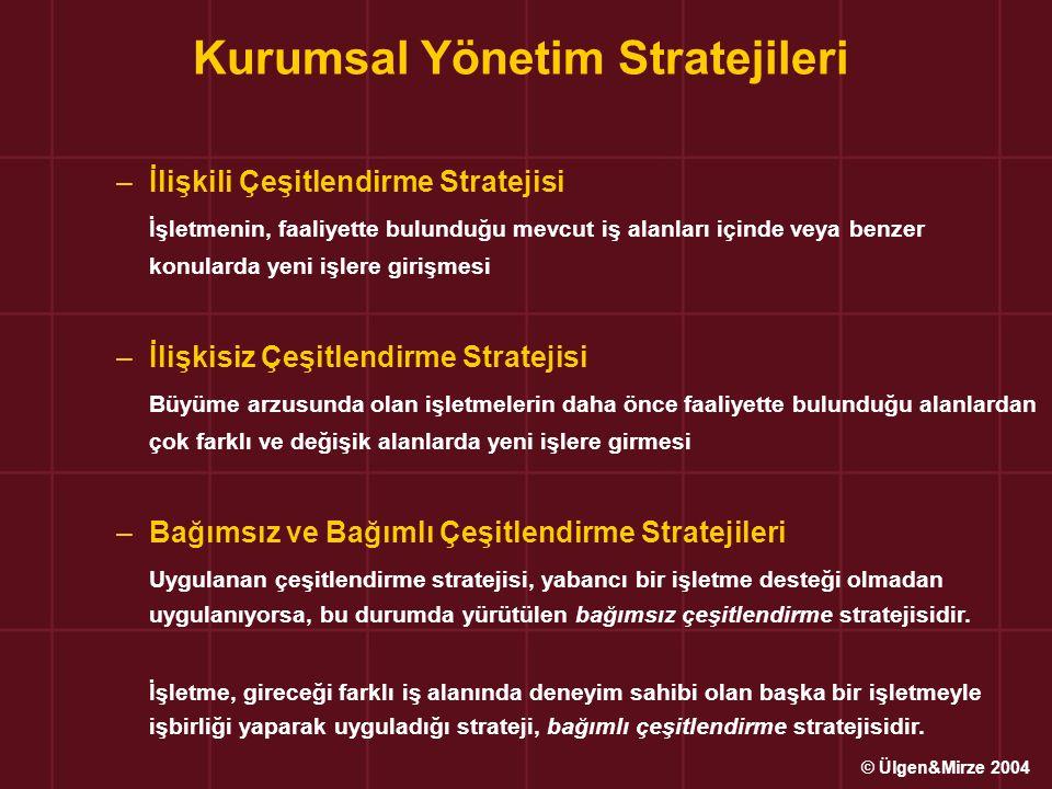 –İlişkili Çeşitlendirme Stratejisi İşletmenin, faaliyette bulunduğu mevcut iş alanları içinde veya benzer konularda yeni işlere girişmesi –İlişkisiz Çeşitlendirme Stratejisi Büyüme arzusunda olan işletmelerin daha önce faaliyette bulunduğu alanlardan çok farklı ve değişik alanlarda yeni işlere girmesi –Bağımsız ve Bağımlı Çeşitlendirme Stratejileri Uygulanan çeşitlendirme stratejisi, yabancı bir işletme desteği olmadan uygulanıyorsa, bu durumda yürütülen bağımsız çeşitlendirme stratejisidir.