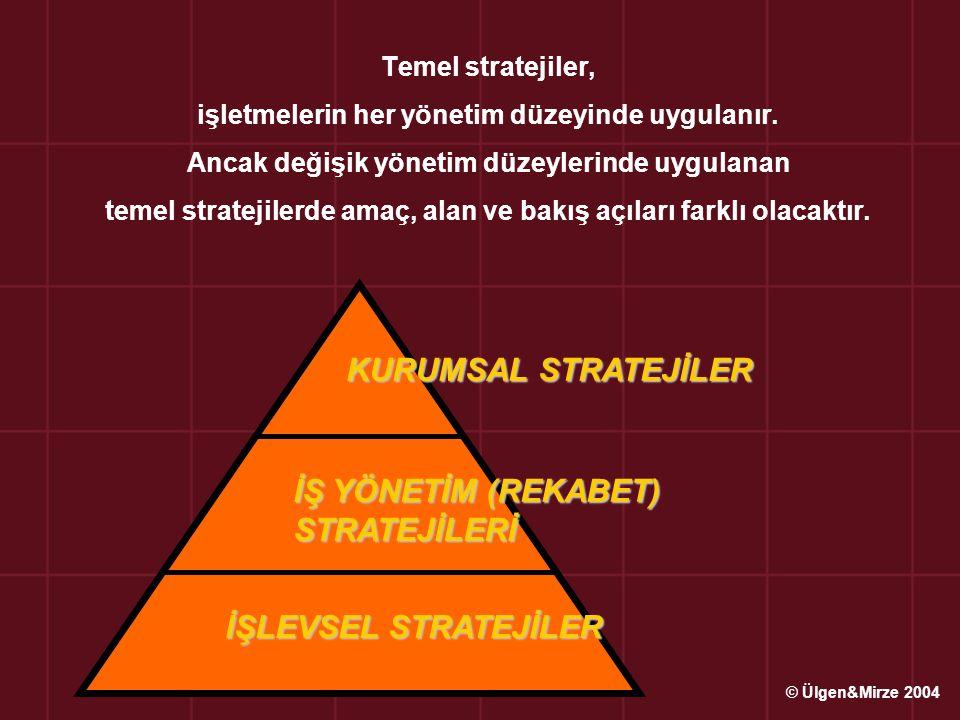 Üst Düzey / Kurumsal Stratejiler İşletmenin uzun dönemde, karşılaştırmalı üstünlüklere sahip olarak firma değerini yükseltmek için hangi konumda bulunması, hangi iş alanlarında faaliyet göstermesi ile ilgilidir.