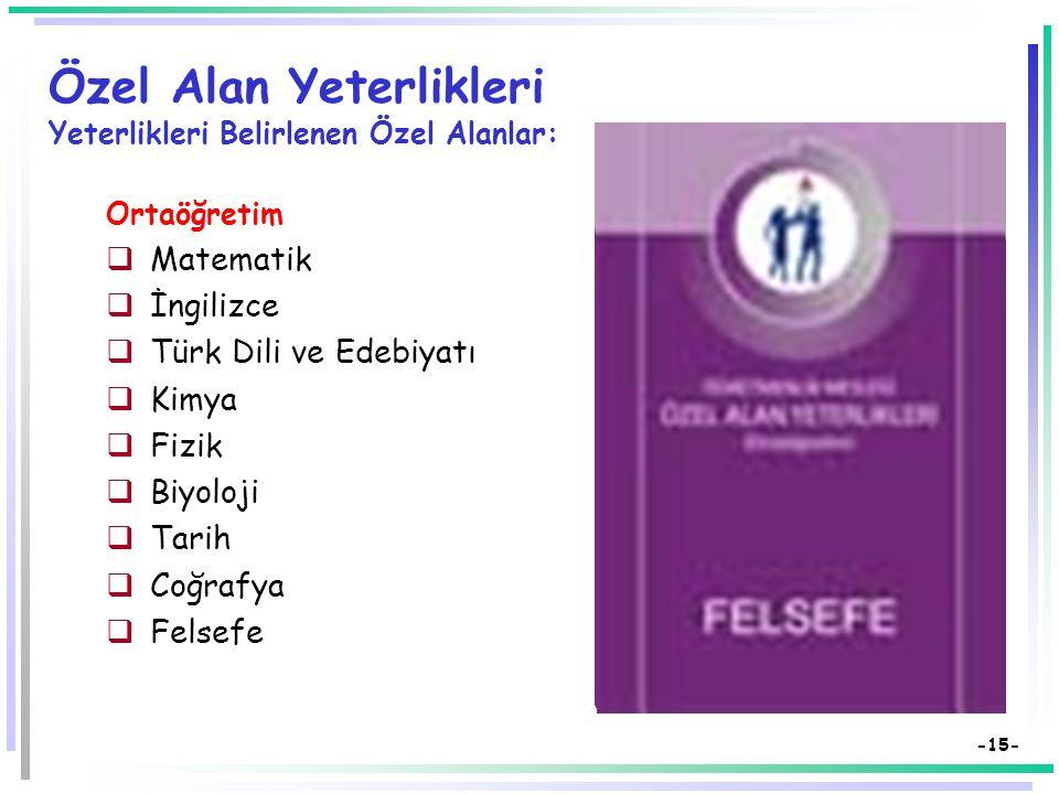 -14- Özel Alan Yeterlikleri Yeterlikleri Belirlenen Özel Alanlar: İlköğretim  Türkçe  İngilizce  Fen ve Teknoloji  Bilişim Teknolojileri  Okul Öncesi  Görsel Sanatlar  Matematik  Sınıf Öğretmenliği  Sosyal Bilgiler  Müzik  Beden Eğitimi  Din Kültürü ve Ahlak Bilgisi  Teknoloji ve Tasarım  Özel Eğitim  Hayat Bilgisi