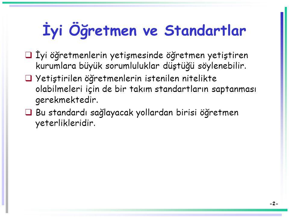Öğretmen Yeterlikleri Dr. Süleyman Sadi SEFEROĞLU Hacettepe Üniversitesi, Eğitim Fakültesi Bilgisayar ve Öğretim Teknolojileri Eğitimi Bölümü 06532 Be