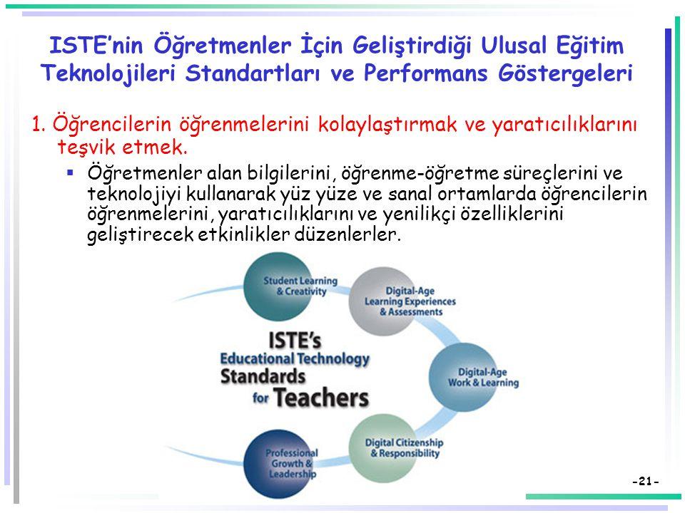 -20- ISTE'nin Öğretmenler İçin Geliştirdiği Ulusal Eğitim Teknolojileri Standartları ve Performans Göstergeleri 1.Öğrencilerin öğrenmelerini kolaylaştırmak ve yaratıcılıklarını teşvik etmek.